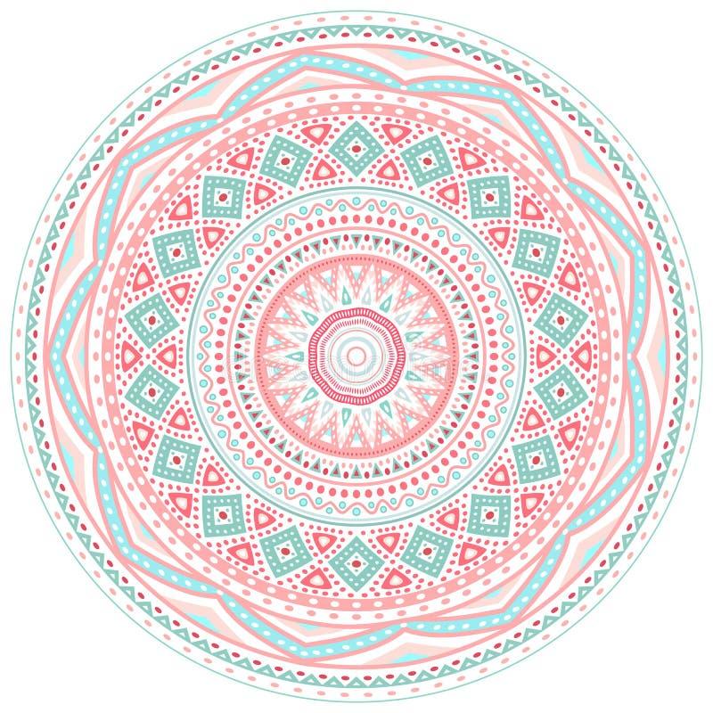 Dekoracyjne menchie i błękitna round wzoru rama ilustracja wektor