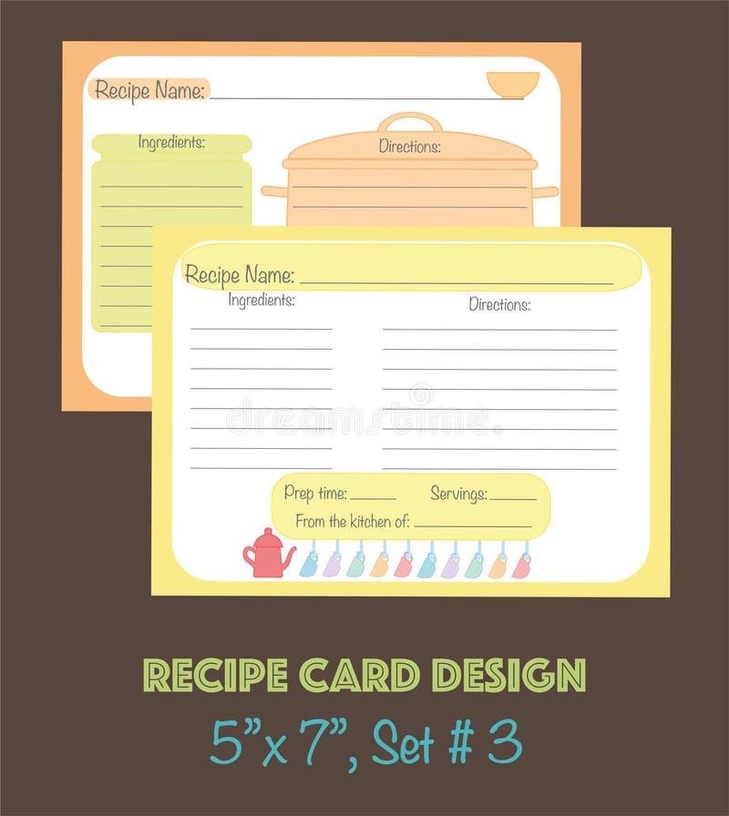 Dekoracyjne przepis karty ustawiają z kuchennymi narzędzie elementami royalty ilustracja