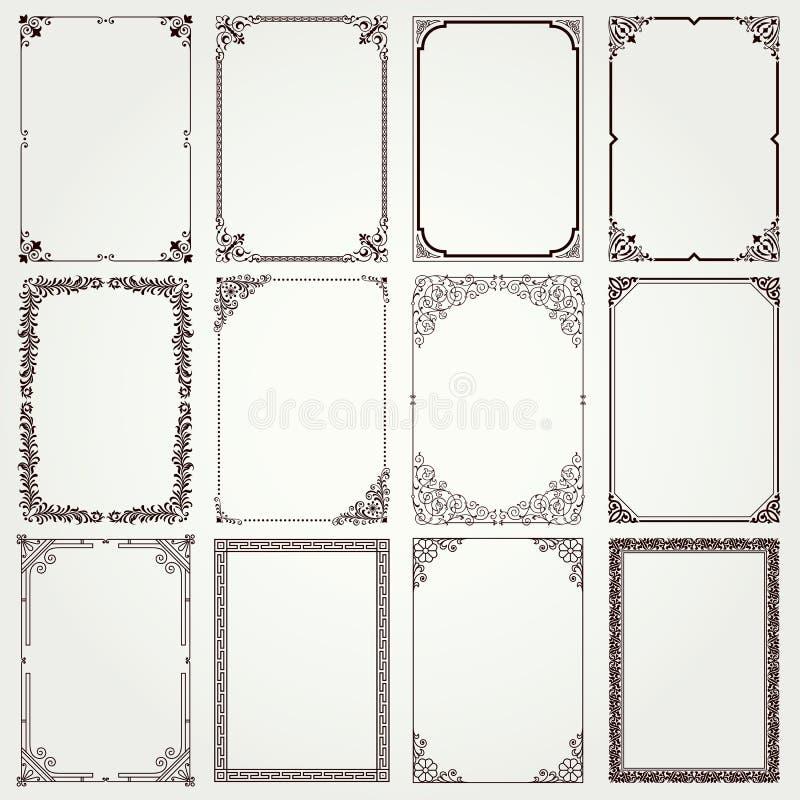 Dekoracyjne ramy i granic A4 proporcje ustawiają -4 royalty ilustracja