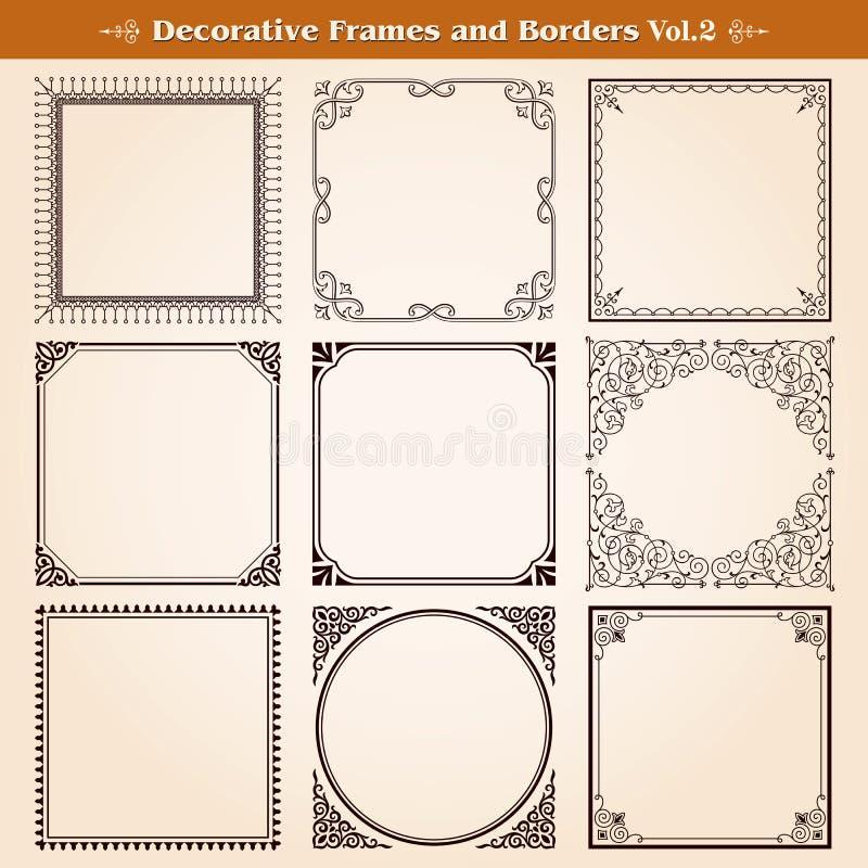 Dekoracyjne ramy i granicy ilustracja wektor