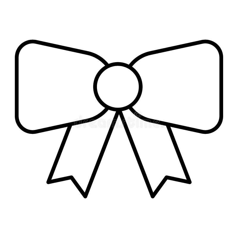 Dekoracyjnego łęku cienka kreskowa ikona Tasiemkowego łęku wektorowa ilustracja odizolowywająca na bielu Świąteczny łęku konturu  ilustracja wektor