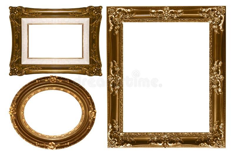 dekoracyjnego pustego złocistego owalu pi prostokątna ściana zdjęcia stock
