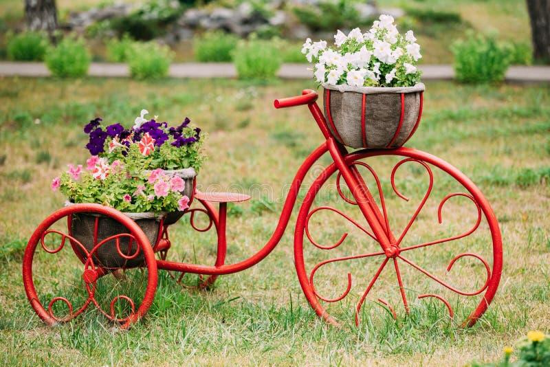 Dekoracyjnego rocznika modela Stary bicykl W kwiatu ogródzie zdjęcia royalty free