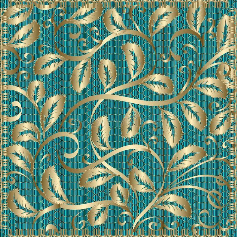 Dekoracyjnego rocznika złocisty kwiecisty wzór Wektor deseniująca tekstura royalty ilustracja