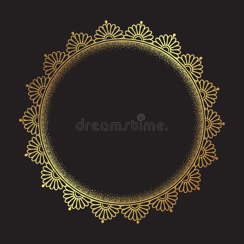 Dekoracyjnej Indiańskiej round koronki ozdobny złocisty mandala odizolowywający nad czarną tło sztuki ramy projekta wektoru ilust ilustracja wektor