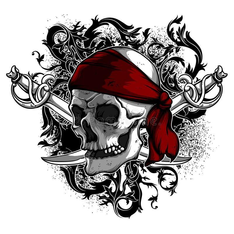 Dekoracyjnej sztuki tło z czaszką, wysokość wyszczególniał realistycznego ilustracji
