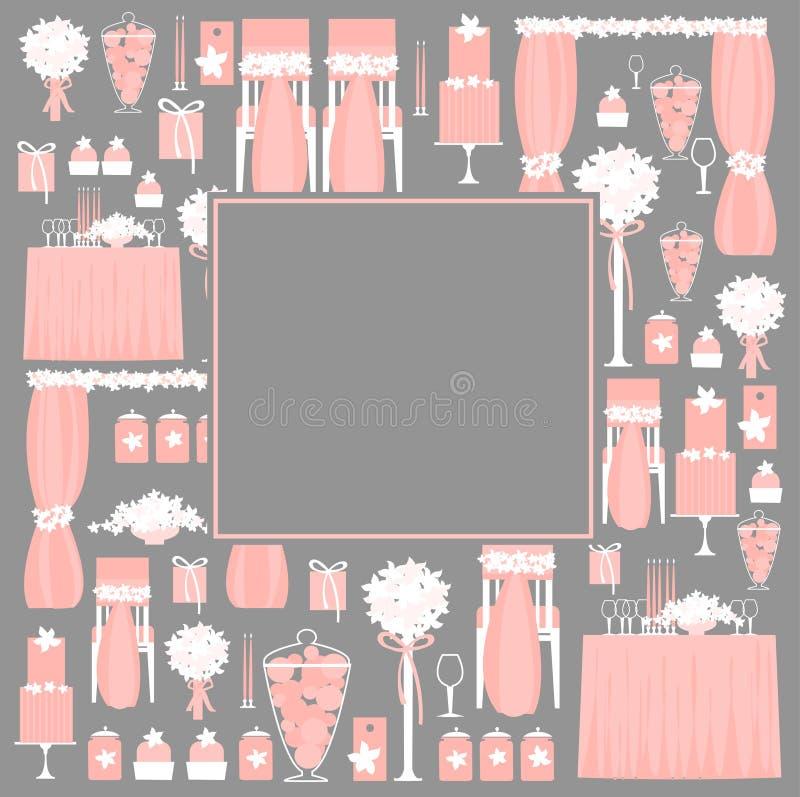Dekoracyjni ślubni elementy royalty ilustracja
