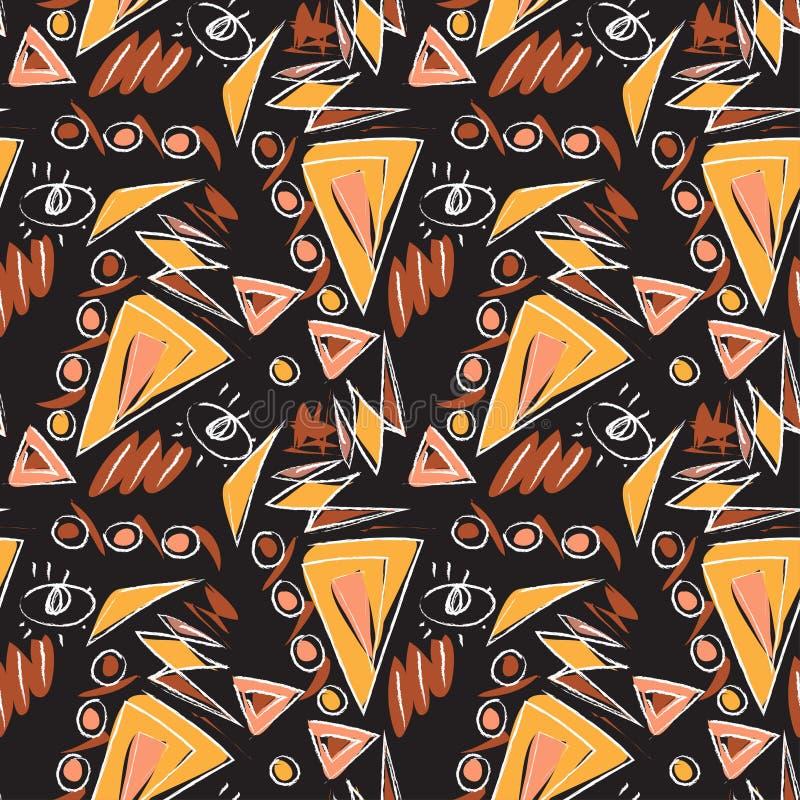 Dekoracyjni abstrakcjonistyczni węgli drzewnych doodles odizolowywali bezszwowego wzór ilustracji