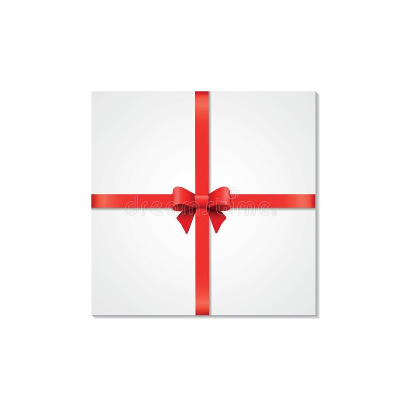 Dekoracyjni biali prezentów pudełka odizolowywający na białym tle Czerwony łęk, tasiemkowy świąteczny element dla uroczystego pro royalty ilustracja