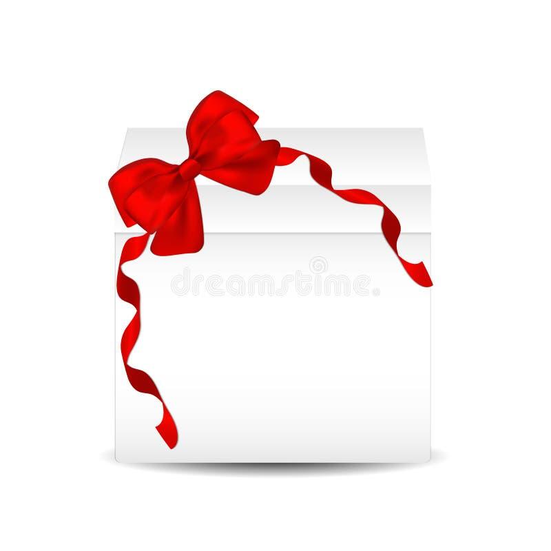 Dekoracyjni biali prezentów pudełka odizolowywający na białym tle Czerwony łęk, tasiemkowy świąteczny element dla uroczystego pro ilustracji