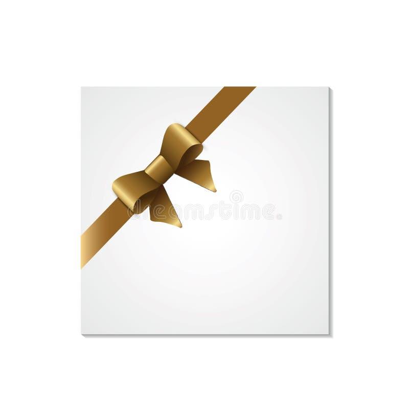 Dekoracyjni biali prezentów pudełka odizolowywający na białym tle Złoty łęk, tasiemkowy świąteczny element dla uroczystego projek ilustracji