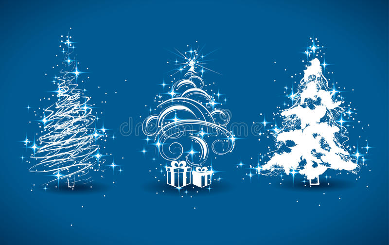 dekoracyjni Bożych Narodzeń drzewa ilustracja wektor