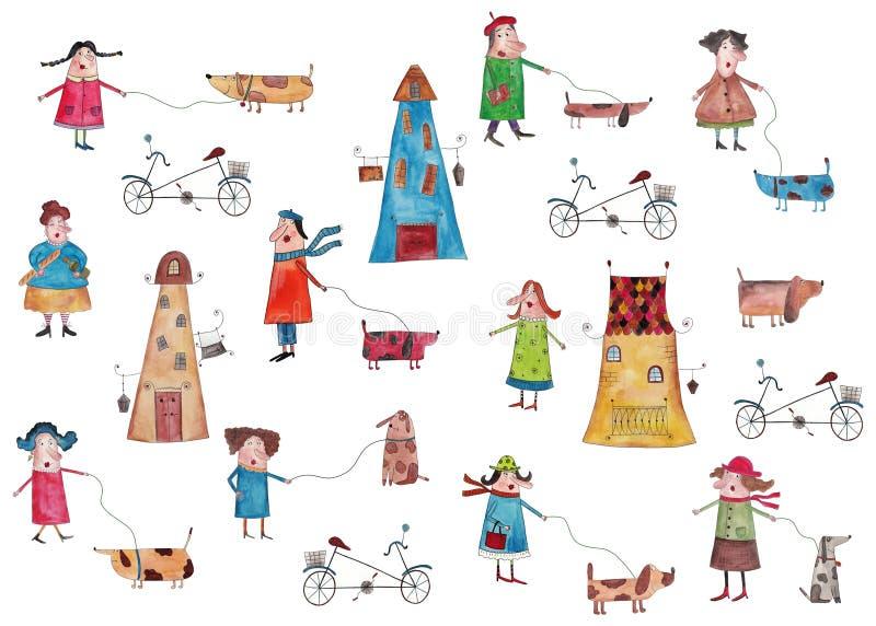 Dekoracyjni elementy, ludzie chodzi z psami ilustracji