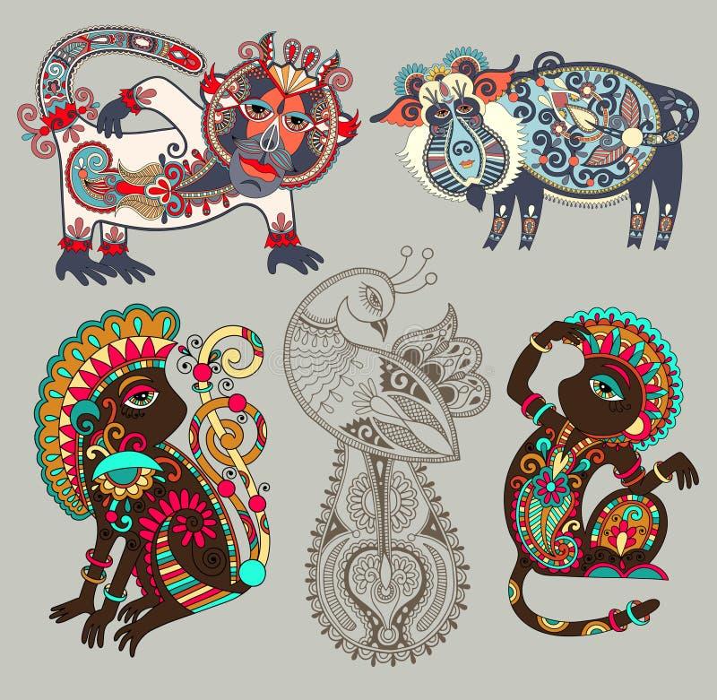 Dekoracyjni etniczni ludowi zwierzęta wewnątrz i ptak royalty ilustracja