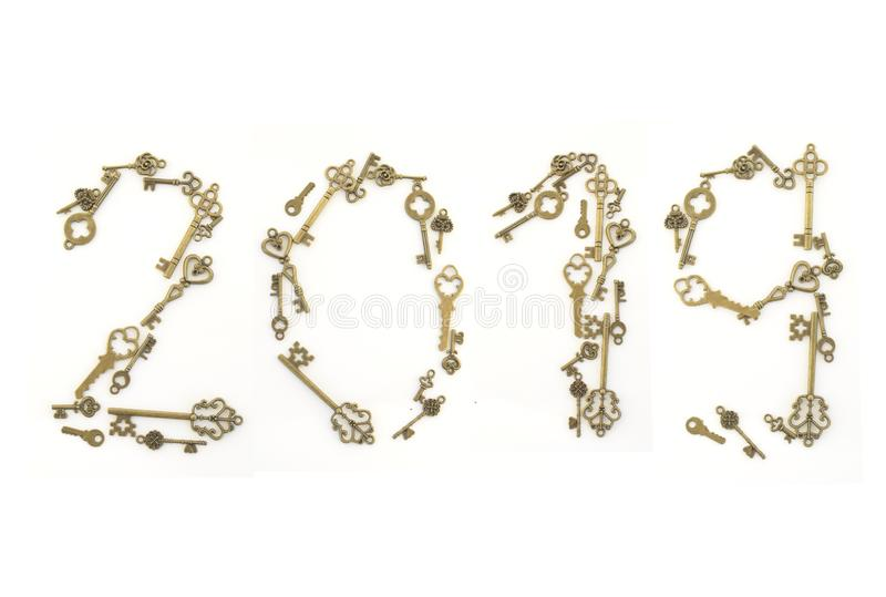 Dekoracyjni klucze różni rozmiary, stylizowany antyk na białym tle Tworzy centerpiece 2019 zdjęcie royalty free