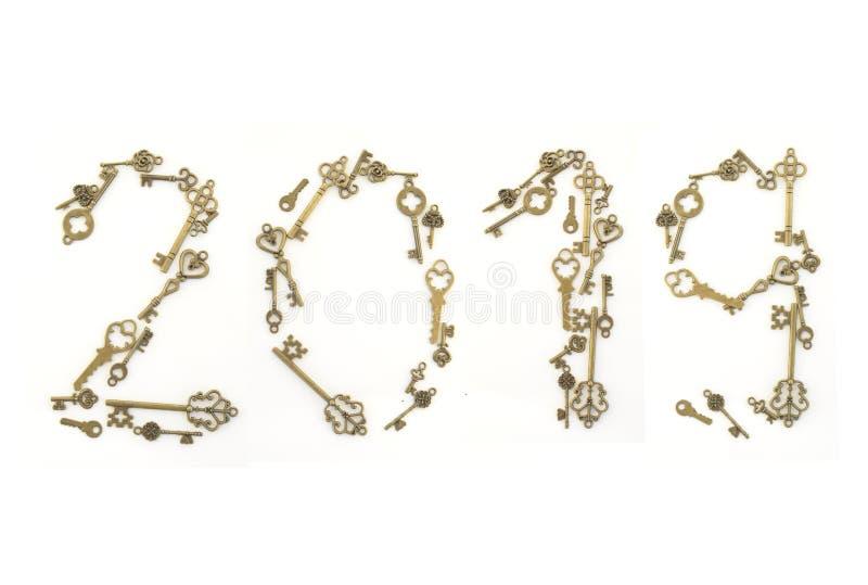 Dekoracyjni klucze różni rozmiary, stylizowany antyk na białym tle Tworzy centerpiece 2019 fotografia royalty free