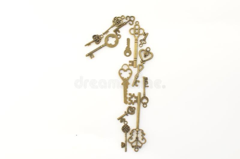 Dekoracyjni klucze różni rozmiary, stylizowany antyk na białym tle Tworzy centerpiece Liczba jeden… zdjęcie royalty free