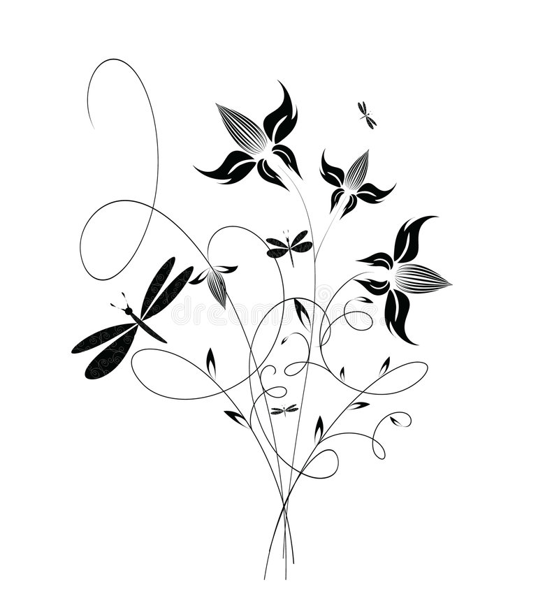 dekoracyjni kwiaty ilustracji