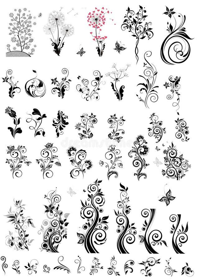 Dekoracyjni kwiecistego projekta elementy (czarny i biały) royalty ilustracja