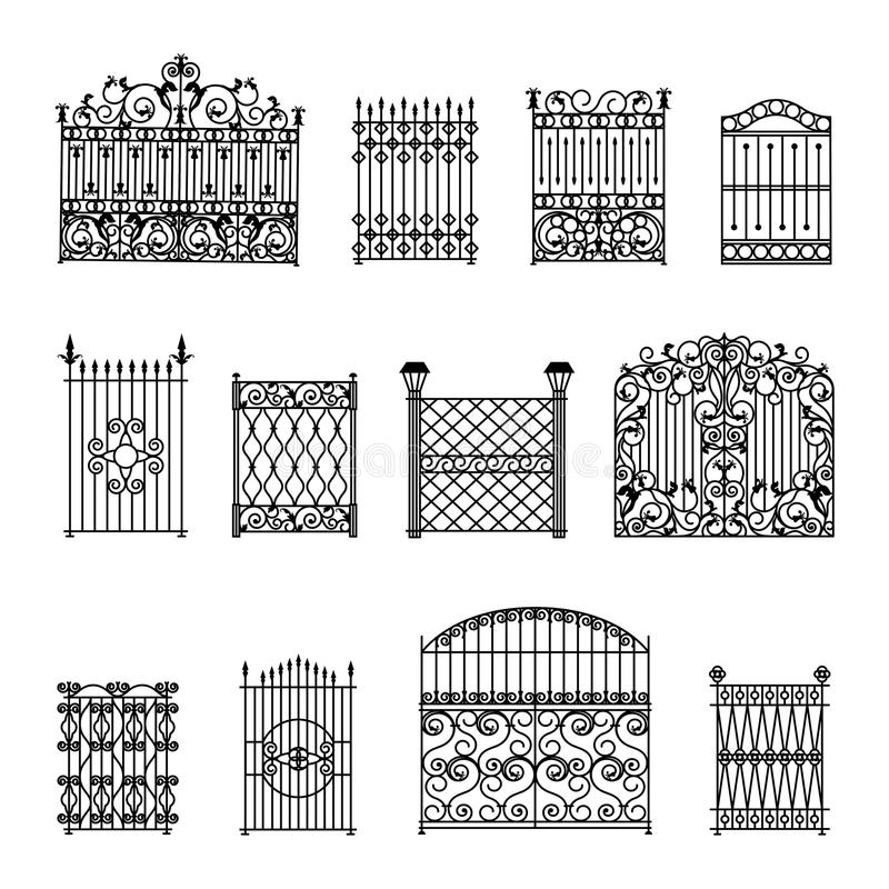 Dekoracyjni ogrodzenia Ustawiający ilustracja wektor