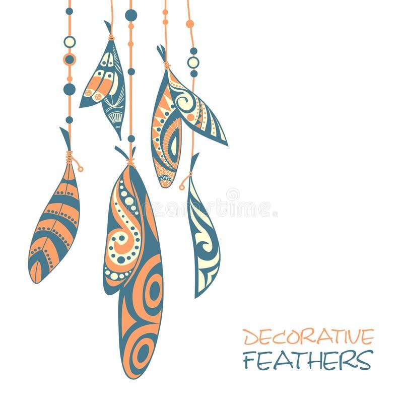 Dekoracyjni ornamentacyjni etniczni piórka ilustracji