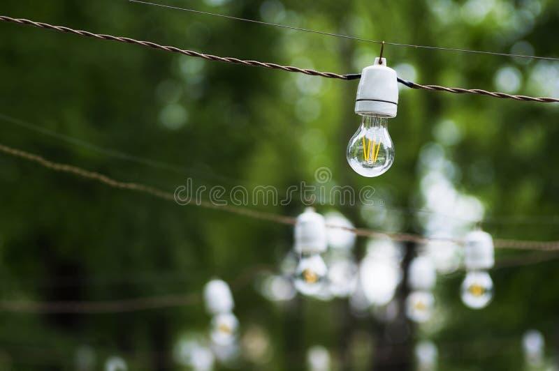 Dekoracyjni plenerowi sznurków światła obraz stock