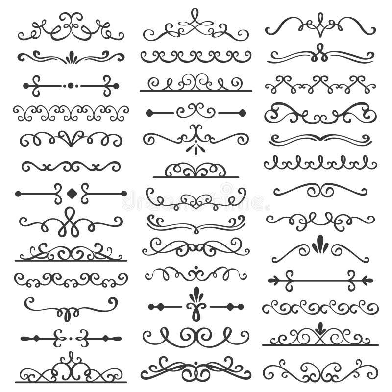 Dekoracyjni zawijasów dividers Stary teksta delimiter, kaligraficzni zawijas granicy ornamenty i rocznika divider wektoru set, royalty ilustracja