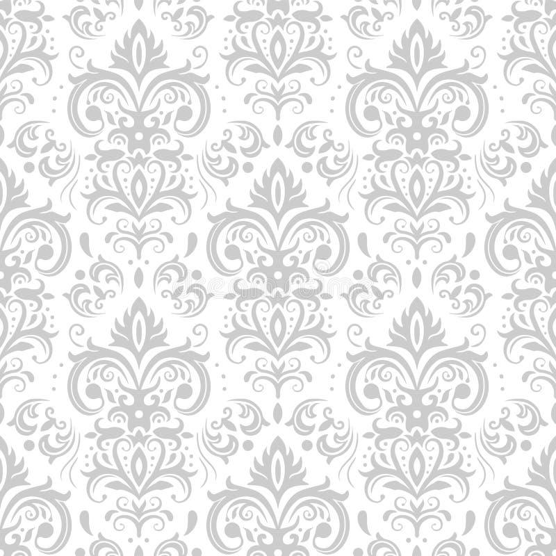 Dekoracyjny adamaszka wzór Rocznika ornament, barok kwiaty i srebny venetian ozdobny kwiecistych ornamentów bezszwowy wektor, royalty ilustracja