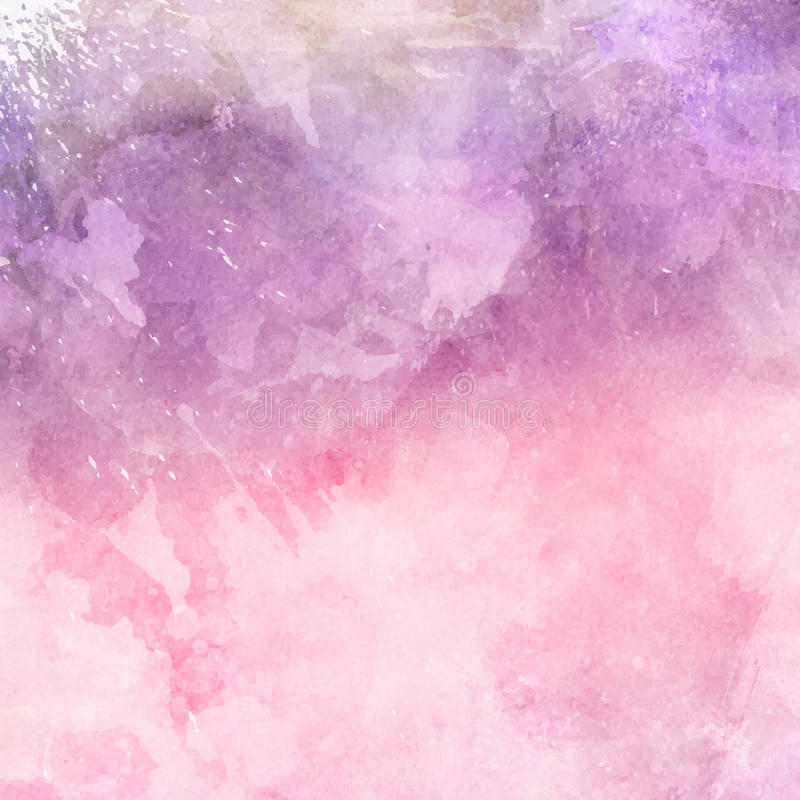 Dekoracyjny akwareli tło w cieniach menchie i purpury obraz stock