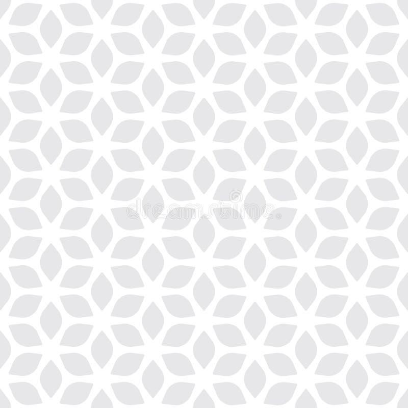 Dekoracyjny Bezszwowy Kwiecisty Geometryczny Biały & Szary Deseniowy tło ilustracji