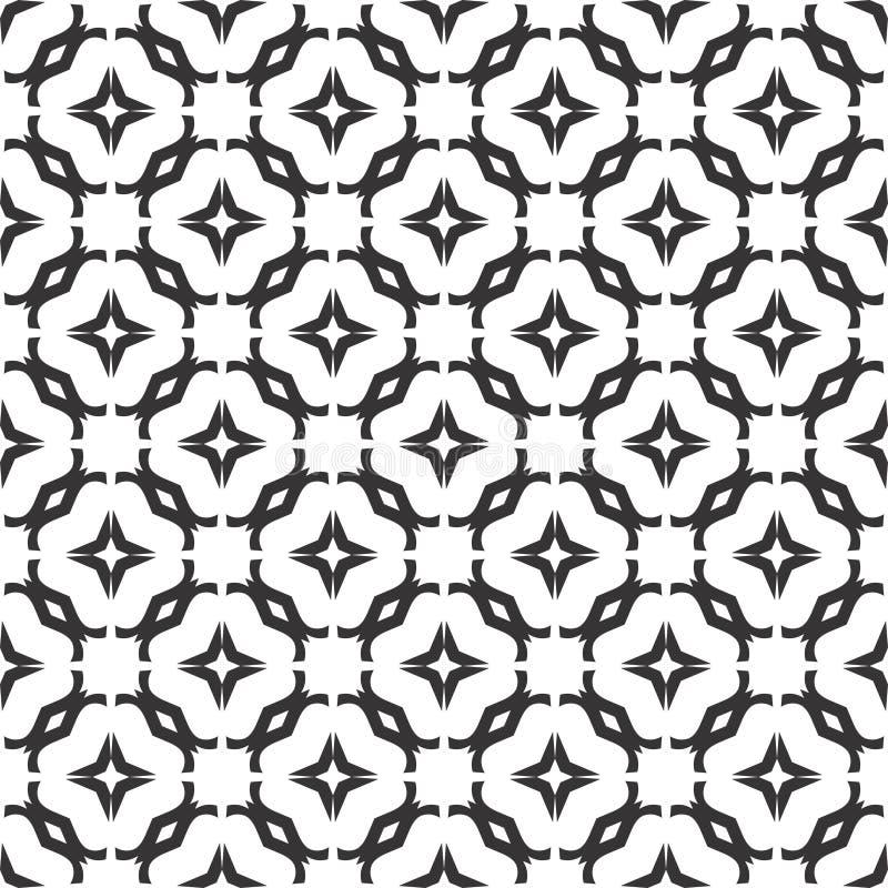 Dekoracyjny Bezszwowy Kwiecisty Geometryczny Czarny & Biały Deseniowy tło royalty ilustracja