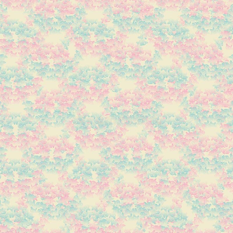 Dekoracyjny bezszwowy wektoru wzoru tło z różowymi i błękitnymi gradientowymi różami ilustracja wektor