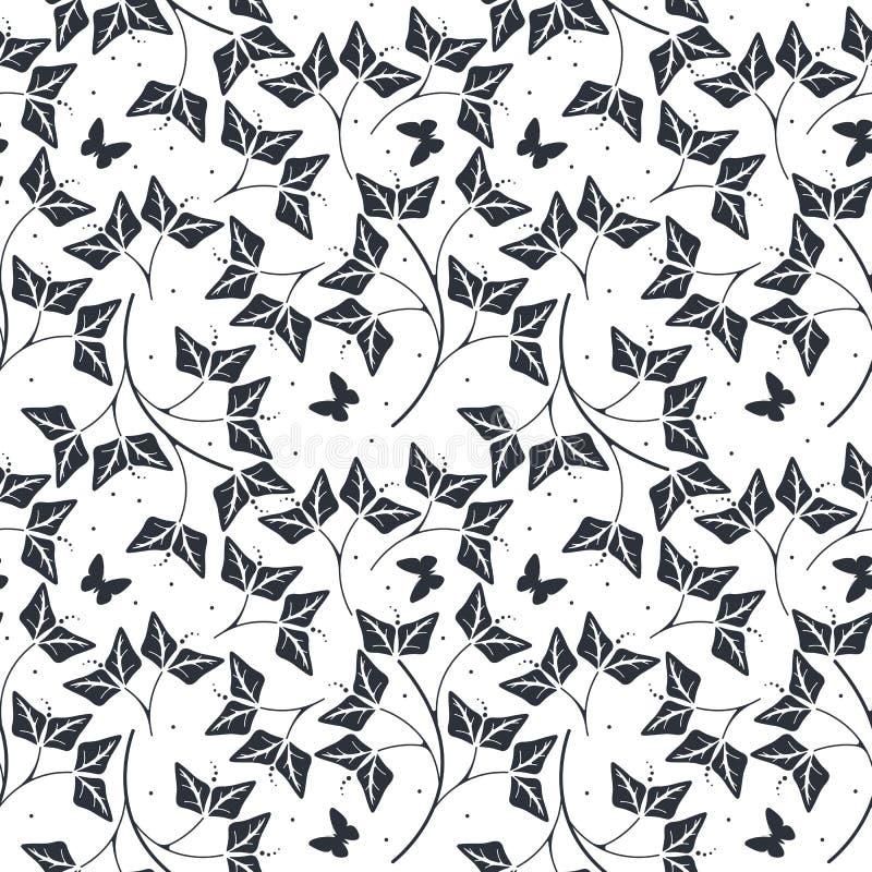 Dekoracyjny bezszwowy wzór z liści i motyli silhouet ilustracji
