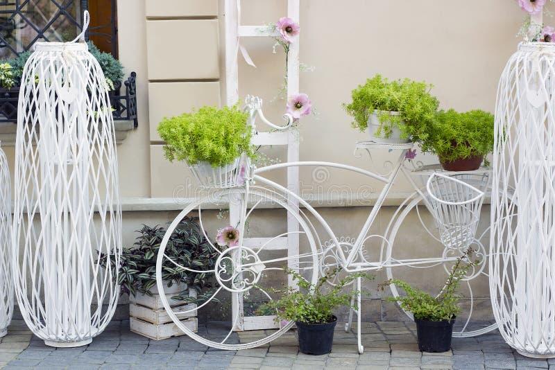 Dekoracyjny bicyklu stojak dla rośliien i kwiatów obraz royalty free