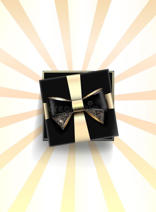 Dekoracyjny czarny prezenta pudełko z złotym łękiem i długim faborkiem wektor obraz stock