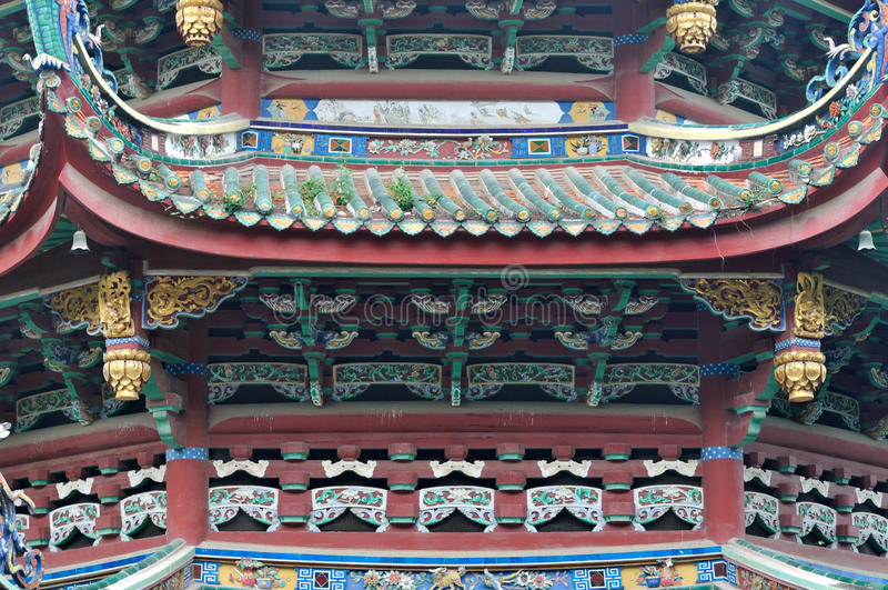 Dekoracyjny dach i eave w Buddyzmu świątyni, Chiny obraz stock
