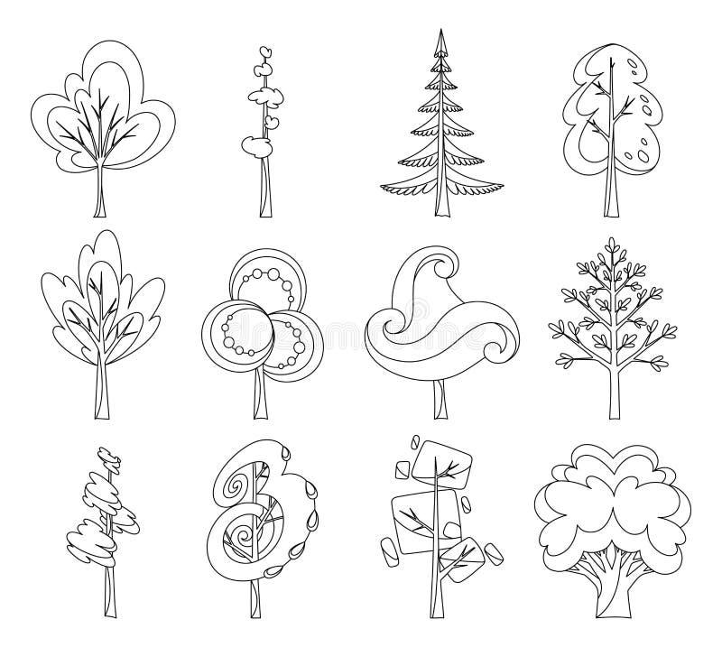 Dekoracyjny drzewo ikony set Płascy drzewa w płaskim projekcie dla kolorystyki książki Odizolowywający na bielu łatwe tło ikony z ilustracja wektor