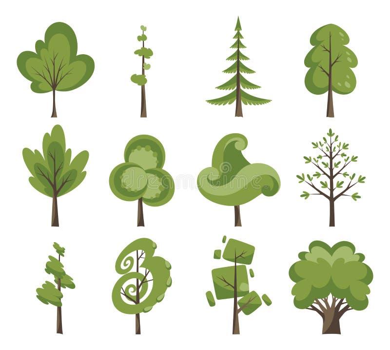 Dekoracyjny drzewo ikony set Płascy drzewa w płaskim projekcie Odizolowywający na bielu łatwe tło ikony zamieniają przejrzystego  royalty ilustracja