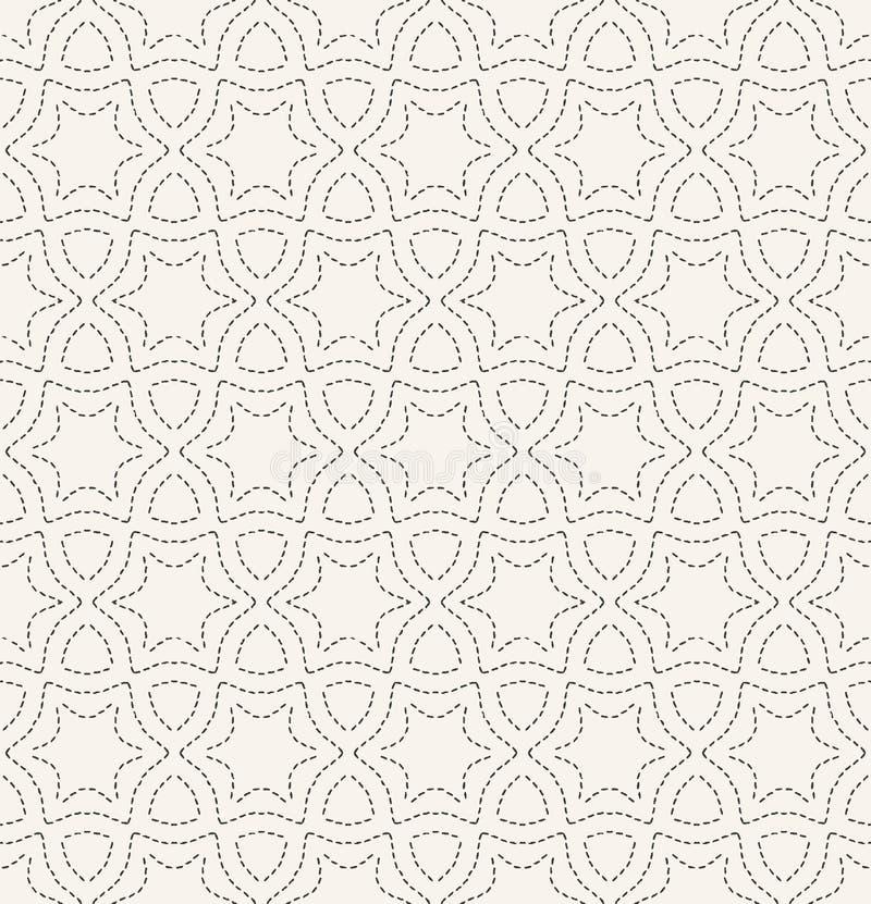 Dekoracyjny działającego ściegu broderii wzór Języka arabskiego gwiazdowego uszycia bezszwowy wektorowy tło Ręka rysujący ornamen ilustracji