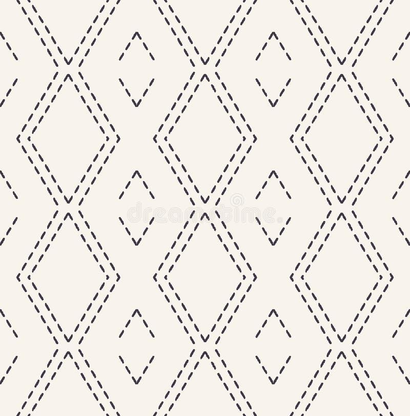 Dekoracyjny działającego ściegu broderii wzór Wiktoriańskiego diamentowego uszycia bezszwowy wektorowy tło r?ka patroszona royalty ilustracja