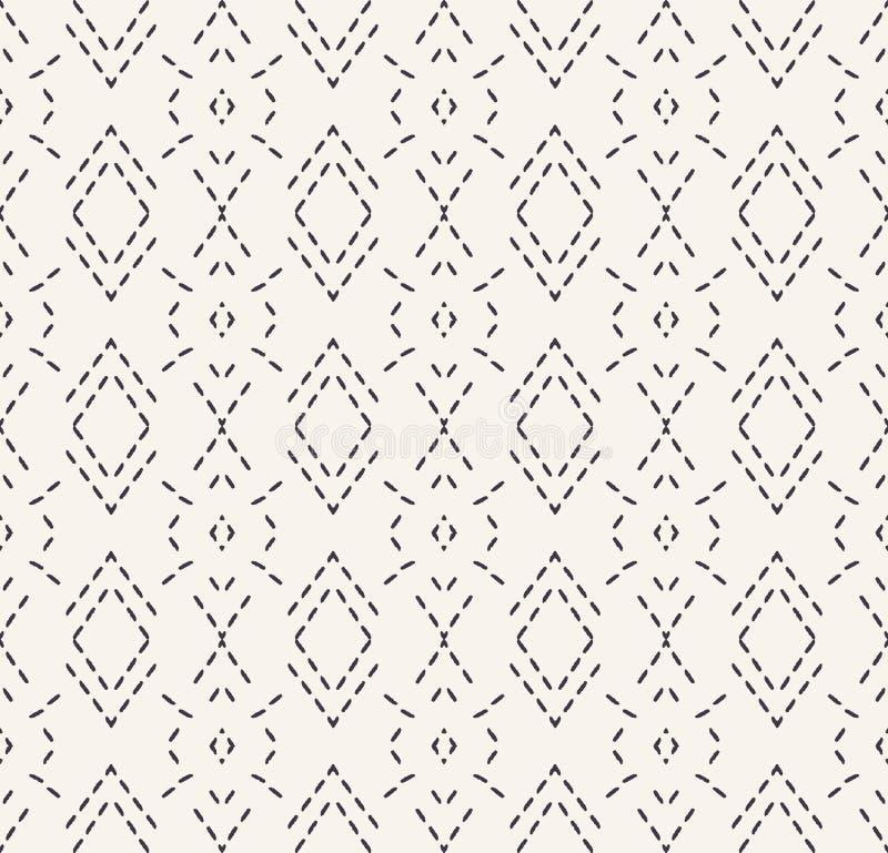 Dekoracyjny działającego ściegu broderii wzór Wiktoriańskiego diamentowego uszycia bezszwowy wektorowy tło r?ka patroszona ilustracja wektor