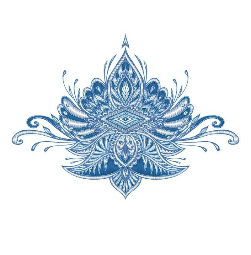 Dekoracyjny elementu emblemat z hafciarskim skutkiem w błękita srebrze barwi ilustracja wektor
