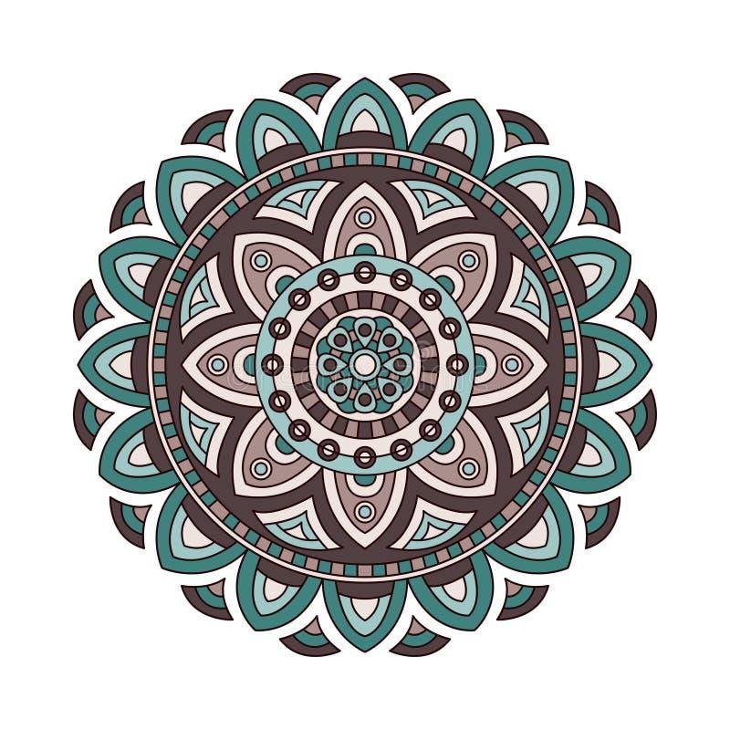 Dekoracyjny etniczny mandala Kontur odizolowywa ornament Wektorowy projekt z islamem, hindus, arabscy motywy ilustracji