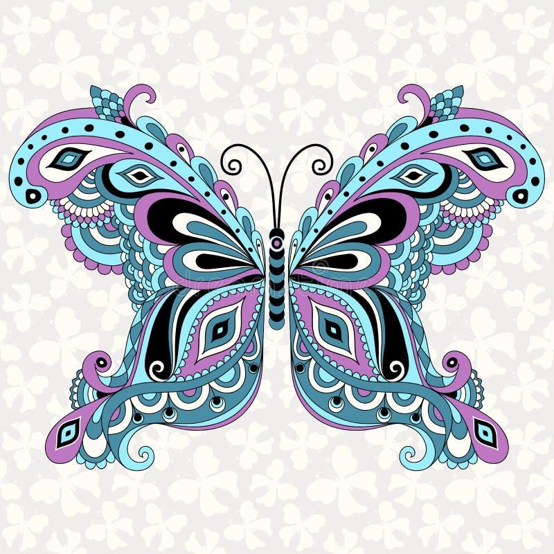 Dekoracyjny fantazja rocznika motyl royalty ilustracja