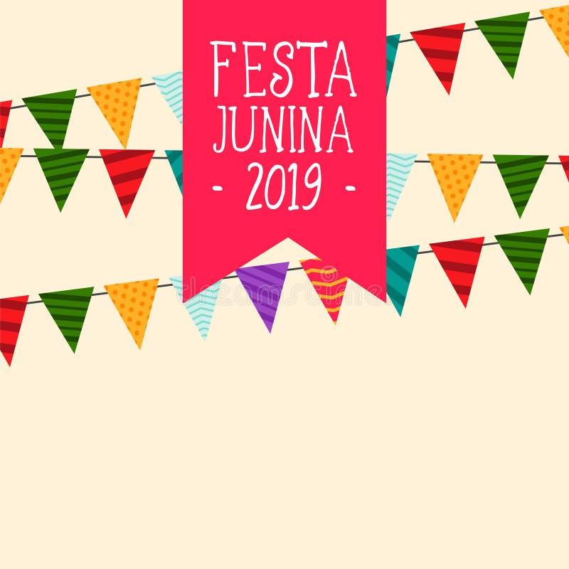 Dekoracyjny festa junina zaznacza tło ilustracja wektor