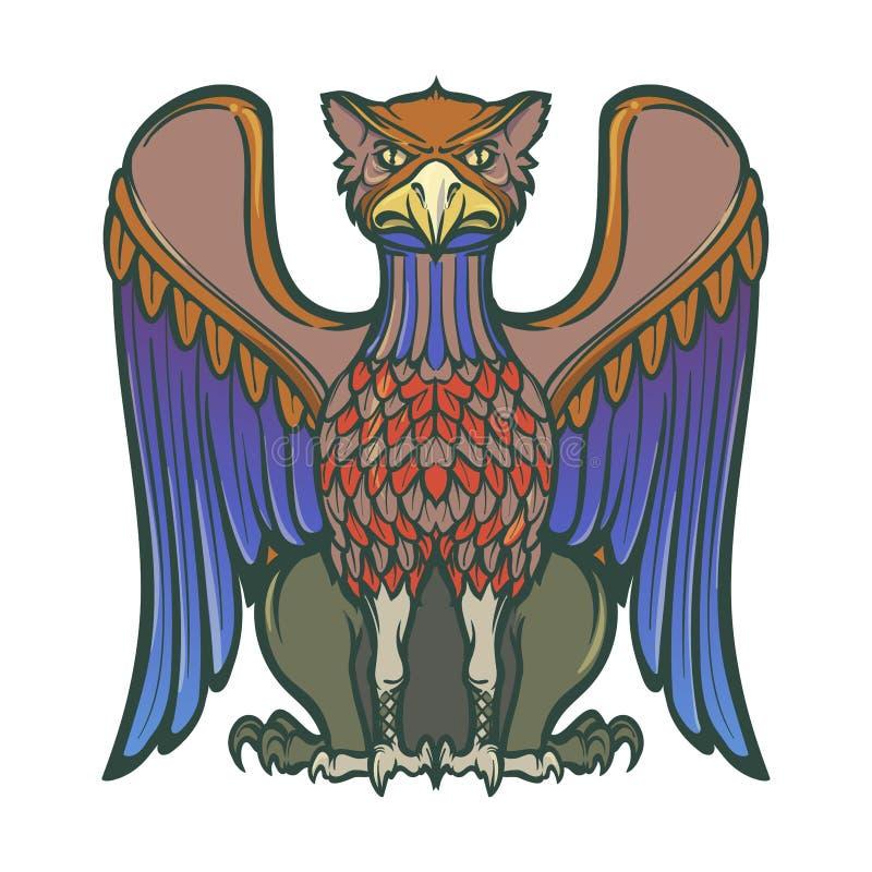 Dekoracyjny gryf Średniowieczna gothic stylowa pojęcie sztuka elementy projektu podobieństwo ilustracyjny wektora ilustracja wektor