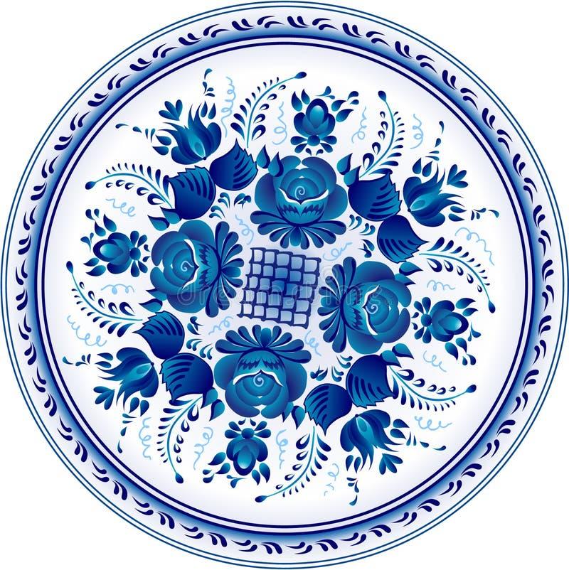 dekoracyjny gzhel ornamental talerza rosjanin ilustracja wektor