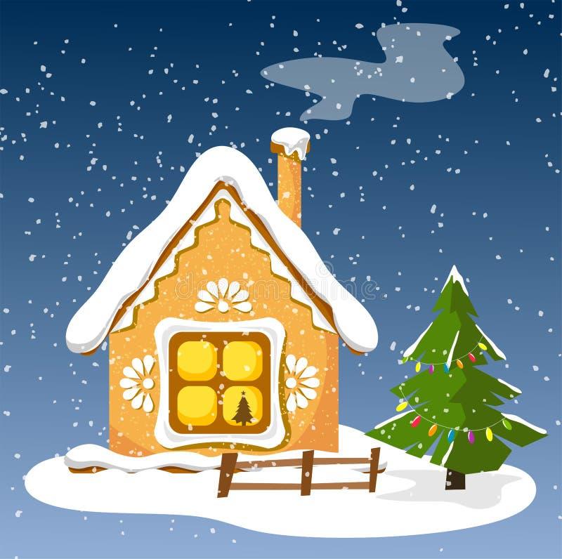 Dekoracyjny i wakacyjny dom z choinką dla Bożenarodzeniowych wakacji ilustracji