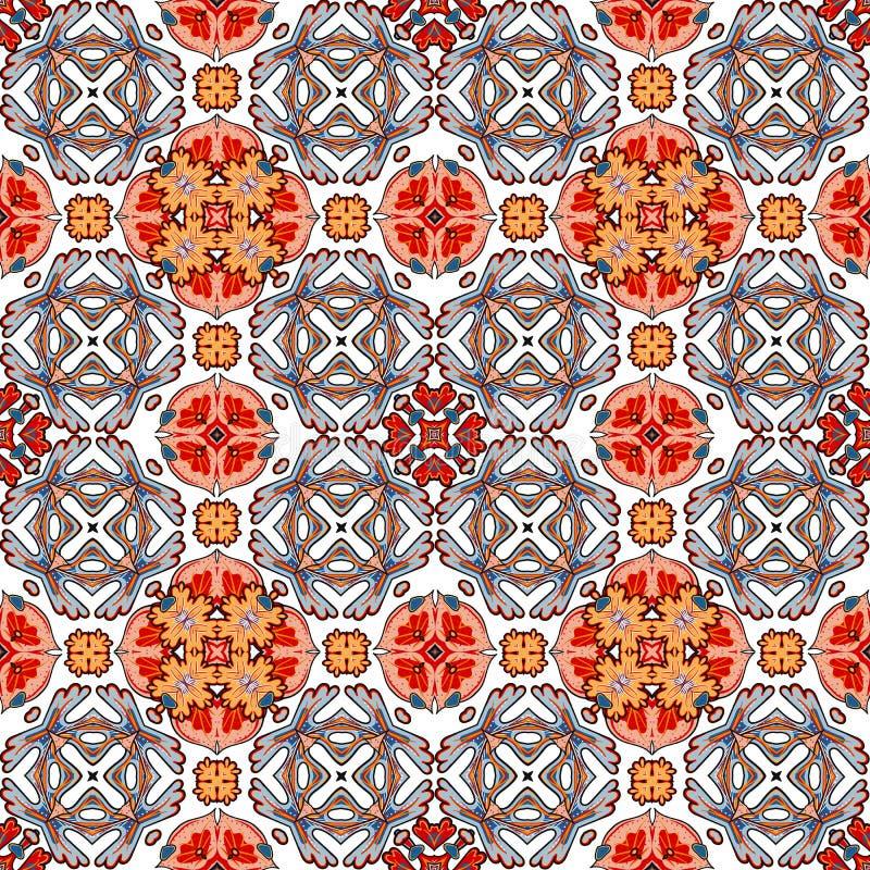 Dekoracyjny kolorowy bezszwowy wzór w mozaika etnicznym stylu ilustracja wektor