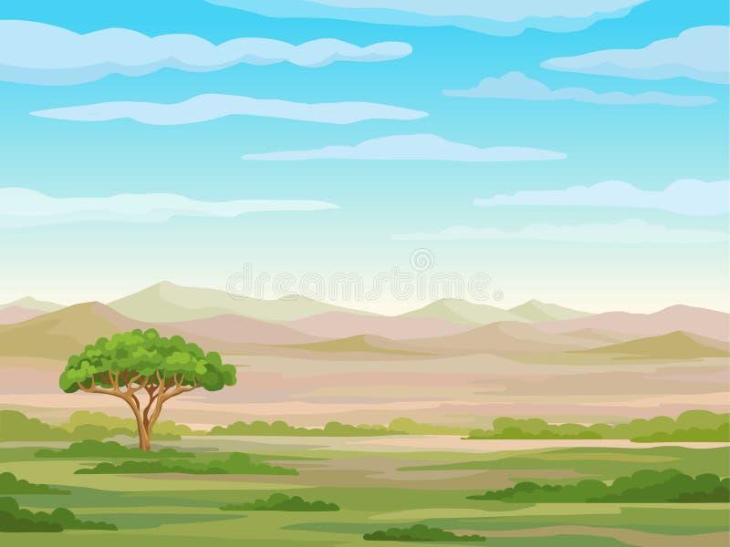 Dekoracyjny krajobraz - Afrykańska sawanna royalty ilustracja